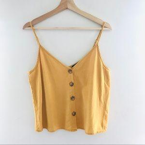 Cotton On Yellow Spaghetti Strap Button Tank Top
